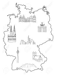 Hamburg Germany Map by Germany Doodle Map With Famous Places Berlin Hamburg Cologne