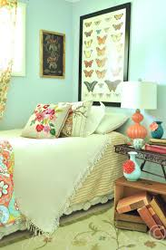 cute peach accents at bedroom which is decorated using