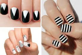 most elegant black and white nail designs for short nails