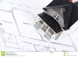 construction plan with house architectural model royalty free