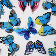Diy Butterfly Decorations by Double Wings 3d Butterfly Wall Stickers Butterflies Decors Diy