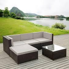 Rattan Wicker Patio Furniture - brown ikayaa 5pcs pe rattan wicker patio garden furniture sofa set