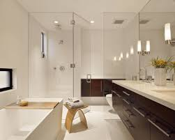 Brown And White Bathroom by Impressive Design Ideas Using Rectangular Brown Wooden Vanity