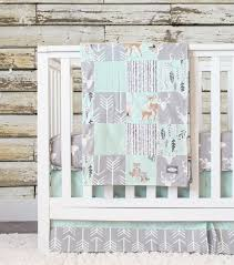 Neutral Nursery Bedding Sets Mint Woodlands Crib Bedding Gray Baby Bedding Set Arrows Bears