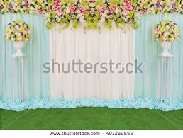 wedding backdrop of flowers beautiful backdrop flowers fabric wedding ceremony stock photo
