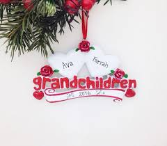Grandparent Ornaments Personalized 2 Grandchildren Personalized Christmas Ornament Two