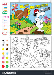 happy thanksgiving coloring book turnkey snoopy stock vector