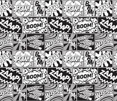 black and white wrapping paper modern comic book pattern black white large fabric