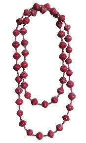 Gifts For Ladies Ecofriendly Gifts Fairtrade Gifts Red Paper Bead Necklace