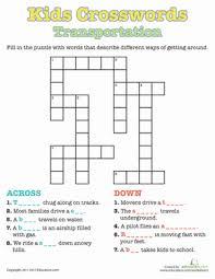 kids crosswords transportation worksheet education com