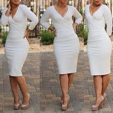 white plain skinny pencil skirt v neck long sleeve knee length
