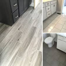 more recent floor tile installs wood tile concrete look tile
