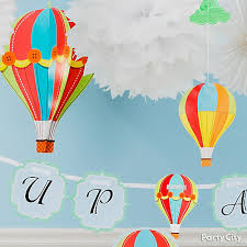 clouds and balloons decorating idea up up and away baby shower