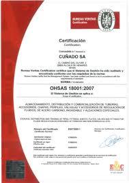 fluido bureau veritas grupo cuñado obtained the ohsas 18001 certification grupo cuñado