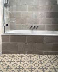 bathroom featuring fontaine grey natural stone tumbled wall tiles