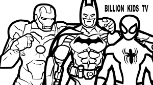 batman vs spiderman and iron man coloring book coloring pages kids