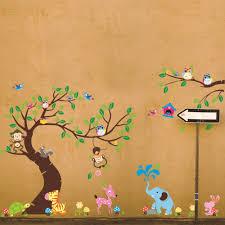 aliexpress com buy high class monkey tree wall stickers cartoon aliexpress com buy high class monkey tree wall stickers cartoon decals jungle animals wallpaper kids home bedroom nursery decora large vinyl mural from