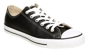 converse all star leather ox low black leather in black for men lyst