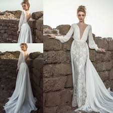 discount dany mizrachi long bishop sleeves beach wedding dresses