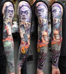 horror sleeve tattoo by alan aldred tattoos