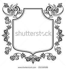vector illustration frame floral ornament gargoyles stock vector