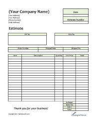 Free Estimates Forms by Estimate Printable Forms Templates
