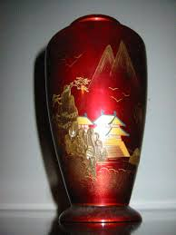 Red Lacquer Vase Japan Aizu Urn Chinoiserie Red Lacquer Vase Copper Insert For Sale