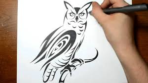 drawing an owl in a cool tribal tattoo design style youtube