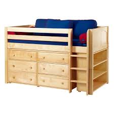 Low Bed Frames For Lofts Emerson Low Loft Bed With Dressers And Bookcase Rosenberryrooms