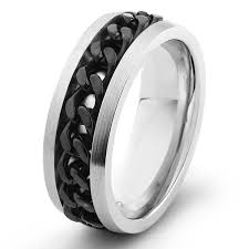 spinner ring stainless steel black chain spinner ring free shipping on orders