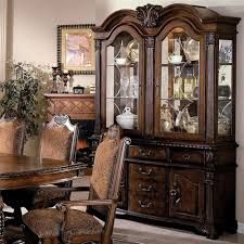 crown mark neo renaissance buffet and hutch with two glass doors