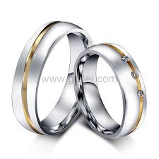 titanium jewelry rings images Engraved titanium engagement rings set for men and women jpg