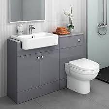 Bathroom Toilet Cabinets 1160 Mm Modern Gloss Grey Bathroom Door Vanity Unit Basin Sink