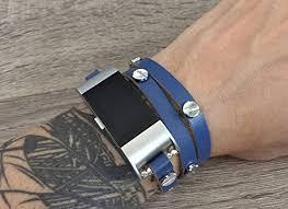 multi strap bracelet images Multi wrap navy blue leather bracelet for fitbit charge 2 heart