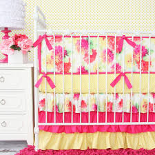 Lemon Nursery Curtains by New Ruffle Baby Bedding In Mint Pink And Yellow U2013 Caden Lane