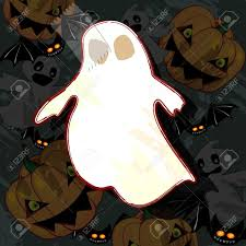 cartoon halloween wallpaper white paper ghost connected with adhesive tape to halloween