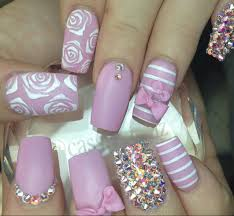 acrylic nails with pink flower sooper mag