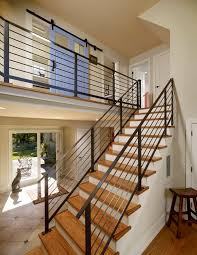 contemporary stair railing hall contemporary with beige tile
