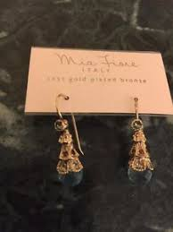 dyadema earrings stunning new fiore 14k gold plated bronze aqua cone