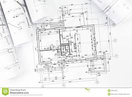 architectural technical drawings with house plan stock photo