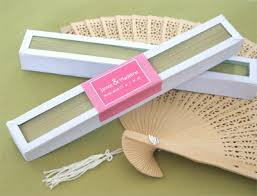 fan favors sandalwood fan in glass top white box wedding favors www