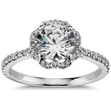 scalloped engagement ring scalloped halo engagement ring in 14k white gold 1
