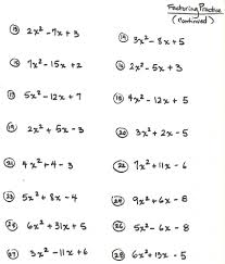 collection of solutions factorization worksheets for class 8 for