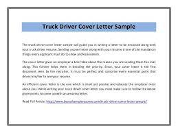 Sample Resume For Truck Driver Cover Letter Truck Driver Truck Driver Cover Letter Resume Genius