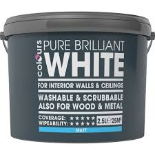 washable paint for walls colours washable u0026 scrubbable white matt emulsion paint 2 5l