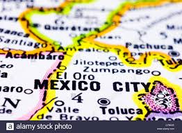 Juarez Mexico Map A Close Up Of Mexico City On Map Capital Of Mexico Stock Photo