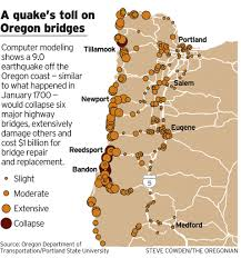 Portland Earthquake Map by If Oregon Sees Another Big One Bridge And Road Failures Will Lock