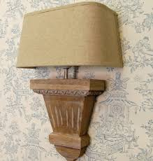 Wall Sconce Half Shades Continental Wooden Wall Light With Half Round Linen Shade