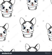 seamless pattern siberian husky puppies vector stock vector