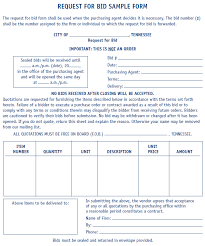 for bid request for bid form sle mtas more